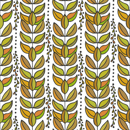 etno: Ethnic seamless pattern with colorful stylish leaves. Endless autumn texture for fabric, textile,backgrounds, wrapping, package design Illustration