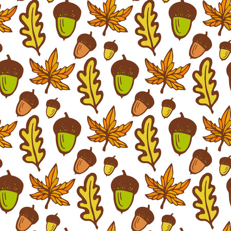 acorn: Autumn background. Seamless pattern with acorns and maple, oak leaves. Hand drawn vector for fabric, textile, wrapping and packaging Illustration