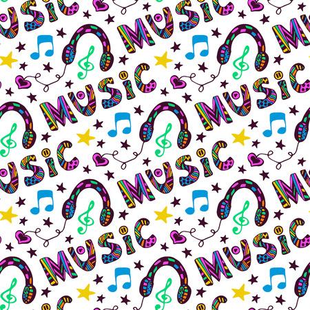 ヘッドフォンとレタリング落書き音楽シームレス パターン。ベクトル楽しいイラスト ヒッピー色  イラスト・ベクター素材