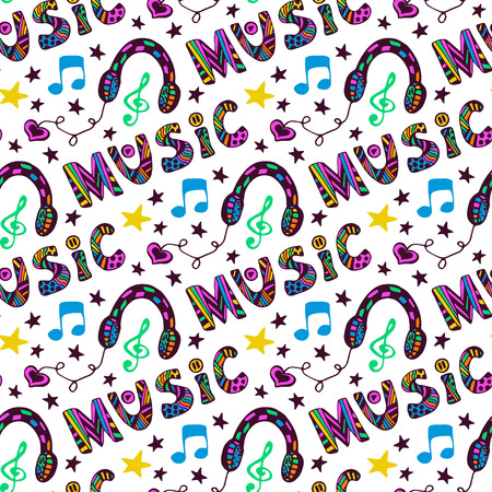 Doodle music seamless pattern with headphones and lettering. Vector illustration in fun hippie colors