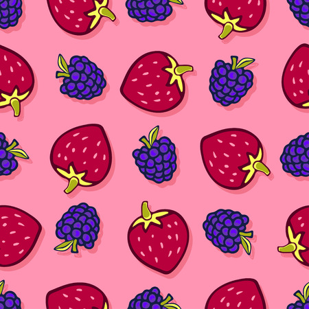dewberry: Blackberry and strawbeerry seamless pattern. Vector doodle berries design for wallpaper, web page background, wrapping, packaging, textile, scrapbook, fabric, menu