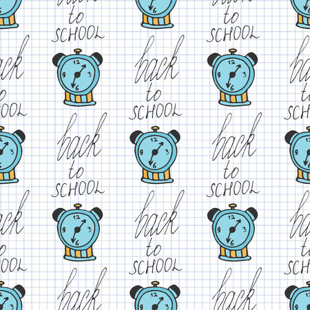 back in time: Time back to school seamless pattern with alarm clocks. Vector doodle background. Morning background