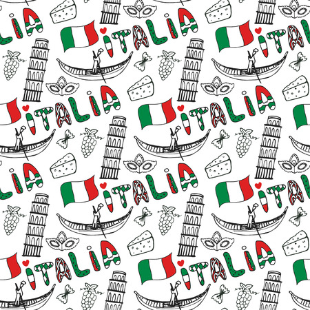 italia: Italy seamless pattern with flag. Vector doodle travel background. Handwriting Italia lettering in italian language - Italy Illustration
