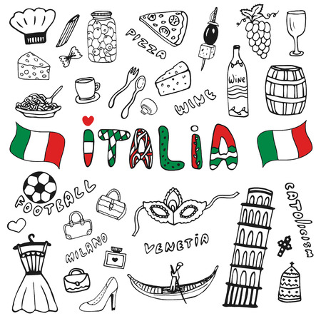 italia: Doodle hand drawn collection of Italy icons. Italy culture elements for design. Vector set. Italia lettering in italian language Illustration