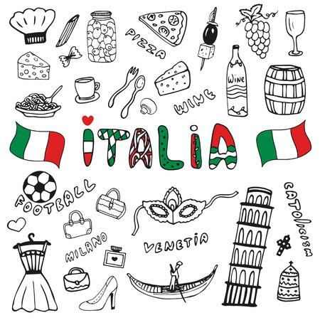 Mano Doodle colección de dibujado Italia iconos. Elementos Italia cultura para el diseño. Conjunto de vectores. Letras de Italia en lengua italiana