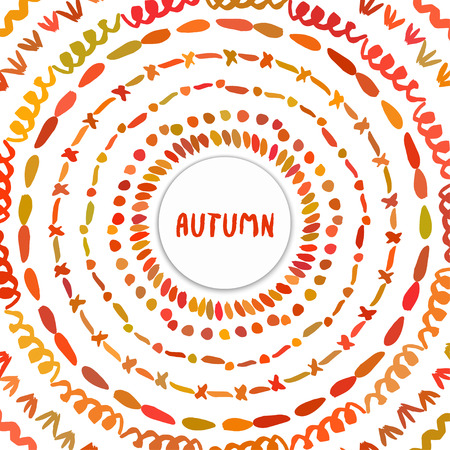 holly day: Autumn background. Circle hand drawn frame. Colorful banner shaped with autumn colors vector design