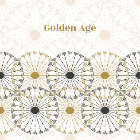 golden age: Seamless vintage border. Vector black and gold circle retro texture. Golden age background