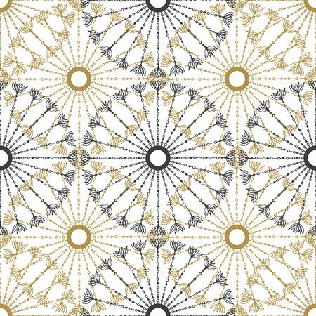 gold circle: Seamless geometric vintage pattern. Vector black and gold circle retro texture Illustration