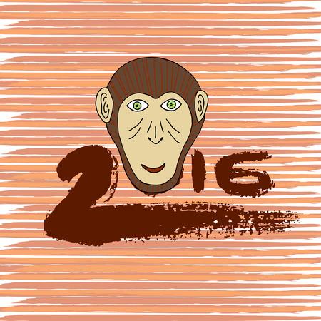 symbol hand: Neues Jahr drucken. Affe-Cartoon Hand gezeichnete Symbol. Hand gezeichnet Tinte 2016. Vektor-Gru�karte, Postkarte Illustration