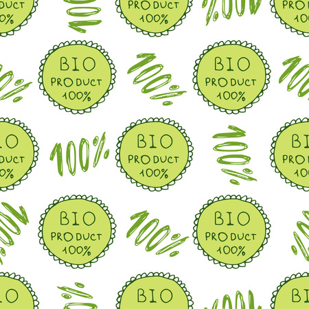 catchword: Bio green pattern. Eco seamless background. 100% Organic natural backdrop.Hand drawn texture. Farm, healthy product decor.