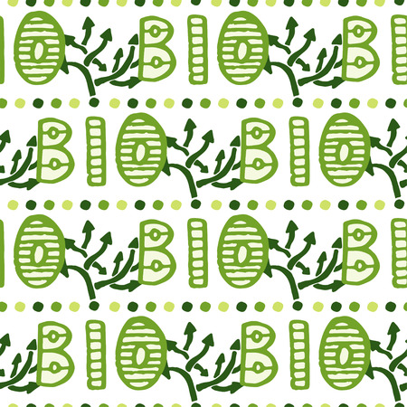 product healthy: Bio green lettering pattern. Eco seamless background.Organic natural backdrop.Hand drawn texture. Farm, healthy product decor.