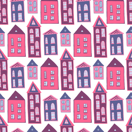 girlish: Houses seamless pattern. Sweet pink girlish background. Kids texture Illustration