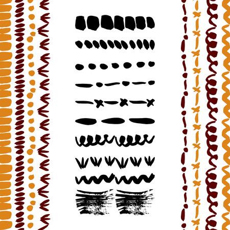 Handgetekende eenvoudige vectorborstels collectie.