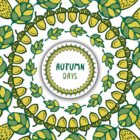 background herfst: Autumn background. Brush with acorns and oak leaves. Brushes included. Hand drawn vector for decoration