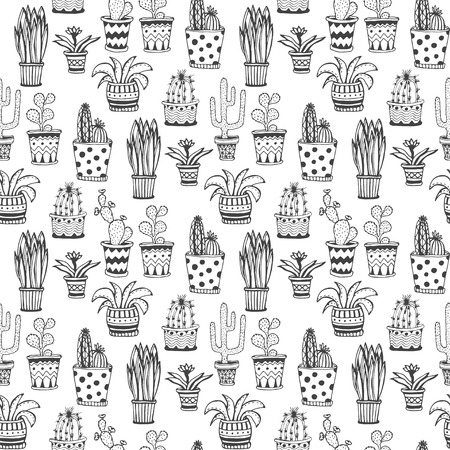 Succulent and cactus pattern. Doodle flowers in pots background. Vector