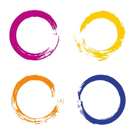 カラフルなベクトルのフレーム、アイコン、バナー デザイン要素のレインボー サークル ブラシ ストロークで設定します。グランジ明るい装飾