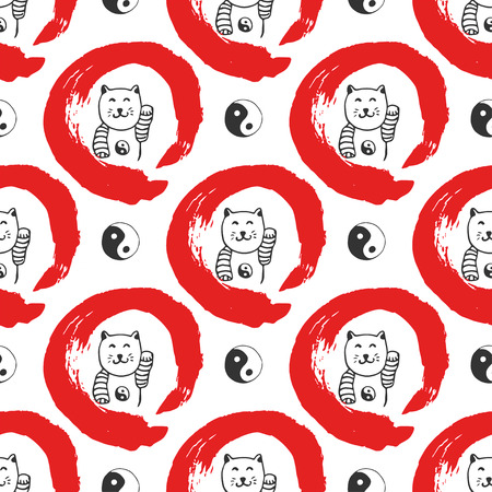 Hand drawn seamless pattern with Japan fortune maneki-neko cats. Yin yang background for design. Red zen circle hand-drawn with ink.