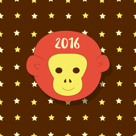 postcard background: New year icon. Symbol 2016. Monkey head on stars background. Vector simple greeting card, postcard