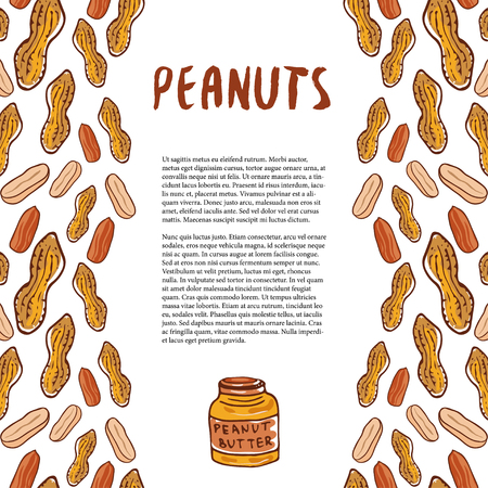 hardiness: Cute peanuts template. Sketched nuts hand drawn vector background. For your packaging design, healthy food magazine page Illustration