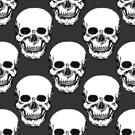 swatch: Black skulls print. Skull pattern. Hand drawn swatch for textile. Vector art.