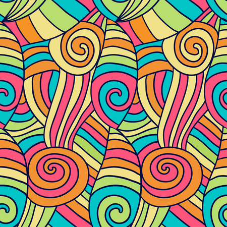 waves pattern: Colorfu abstract waves pattern. Hand drawn spiral wavy background. Vector ethnic coloring texture