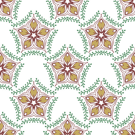 swatch: Beauty pattern with floral ornament. Vector textile swatch Illustration