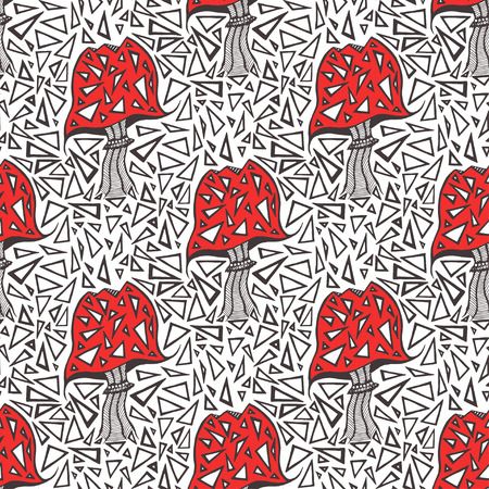 amanita: Seamless pattern with zentangle amanita mushrooms. Vector triangle background texture Illustration