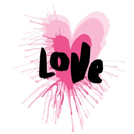 愛のレタリングと手描きの心。ベクトル タイポグラフィ ポスター、t シャツ アパレル、印刷、カード。