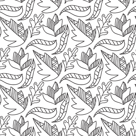 poplar: Autumn leaves seamless pattern. Repeating background in black and white color. Vector