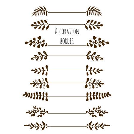Bordes decorativos. Dibujado a mano conjunto de frontera de la vendimia con las hojas, las ramas. Vector