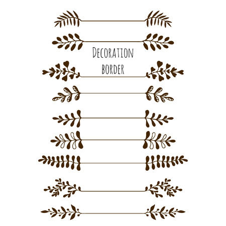 Decorative borders. Hand drawn vintage border set with leaves, branches. Vector