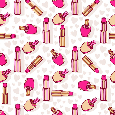 cosmetic surgery: Cosmetic products pattern. Lipsticks and nail polish. Seamless pattern for beauty design