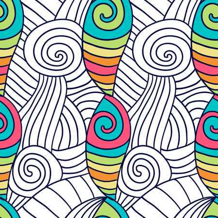 color swatch book: Hand drawn coloring page. Spiral wavy background. Vector