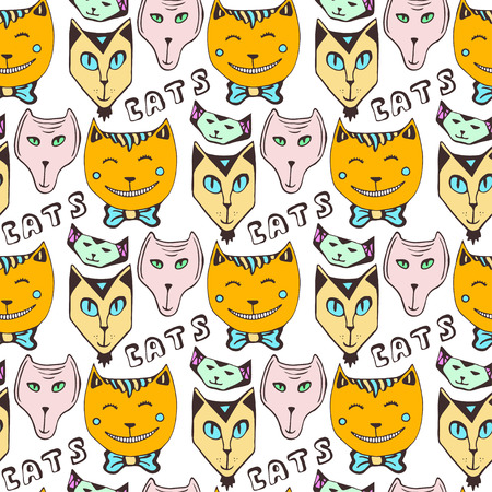 color swatch book: Doodle cats pattern. Hand drawn colorful seamless page. Vector art