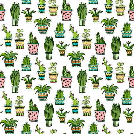 多肉植物とサボテンのシームレスなパターン。植木鉢に花でカラフルな落書き。ベクトルの背景