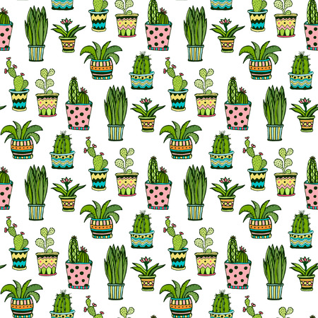 Succulent and cactus seamless pattern. Colorful doodle flowers in pots. Vector background Ilustração