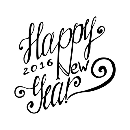 hand lettering: Happy New Year hand lettering card. Vector handmade calligraphy Illustration