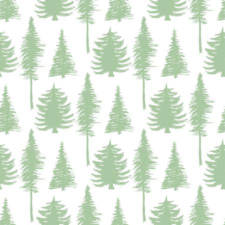 patten: Trees silhouette seamless patten. Vector ecology backdrop