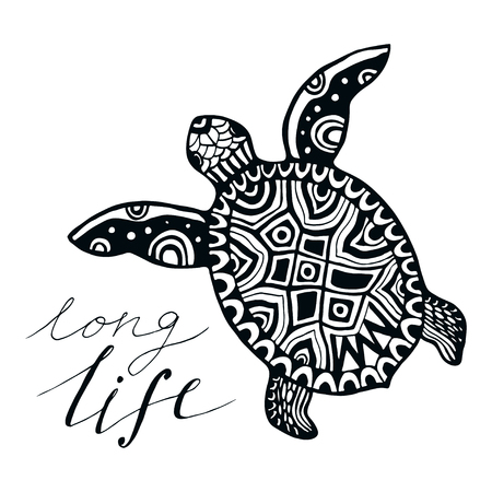 Zentangle turtle with calligraphic quote - Long life. Vector for tattoo, emblem, design