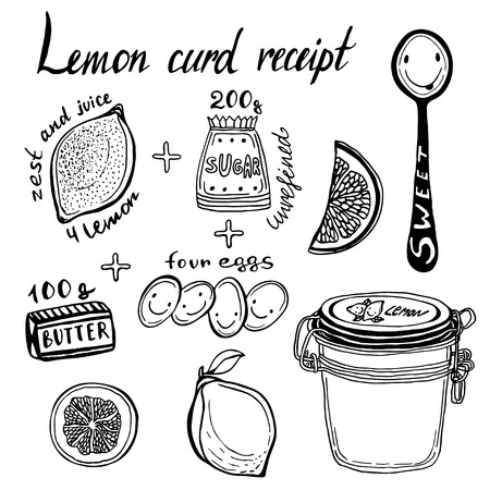 conserved: Lemon Curd receipt, vector illustration. Hand Drawn ingredients and jar