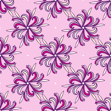 pastel tone: Seamless Fashion floral Pattern. Pink and purple flowers vector background.