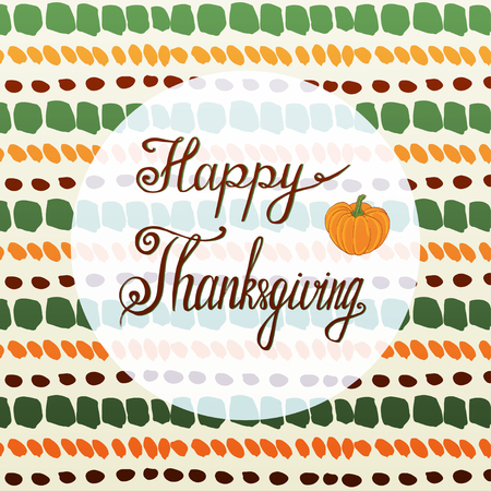 postcard background: Happy thanksgiving greeting card with pumpkin and handmade autumn background Illustration