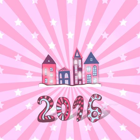 pink roof: Cute New year background. Vector doodle sweet houses Illustration