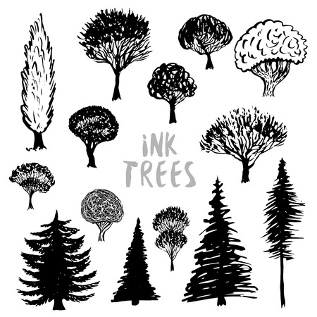 inked: Trees silhouette vector. Inked hand drawn isolated set.