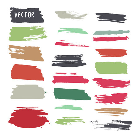 Grunge colorful ink paint strokes. Vector design elements collection. Hand drawn brush textures Illustration