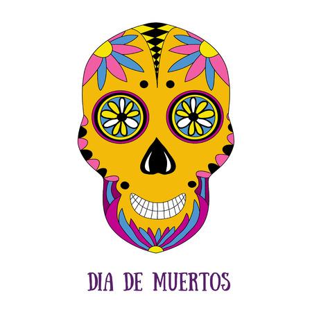dea: Day of The Dead sugar skull with floral ornament. Vector print. Dia de muertos - mexican holiday