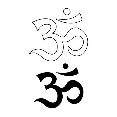 sanskrit: Om symbol. Aum, ohm hand drawn vector tattoo art Illustration
