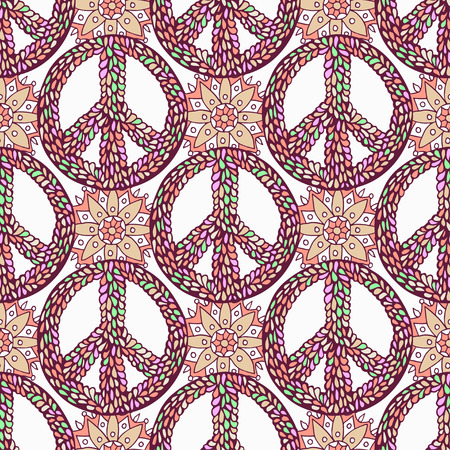Peace pattern. Creative doodle background. Vector hippie seamless texture