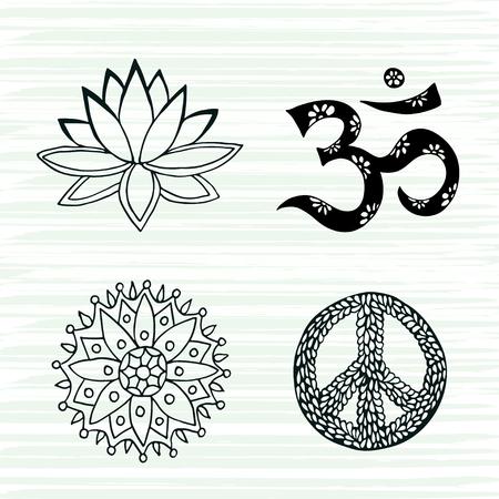 文化シンボル ベクトル セットです。ロータス、マンダラ、マントラ om とピースサイン手描き下ろしコレクション
