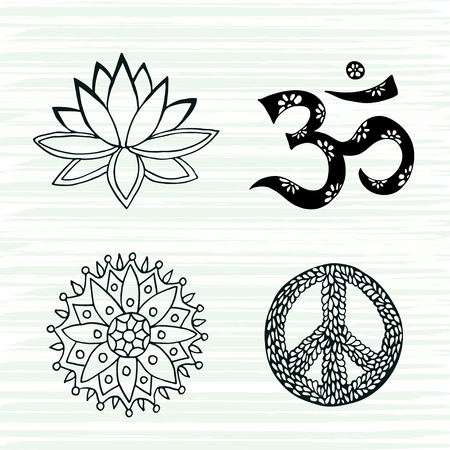 mantra: Culture symbols vector set. Lotus, mandala, mantra om and peace signs hand drawn collection